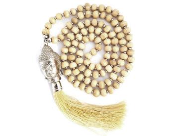 Neckless Budha Beads and tossel cream - Livsenergi 4a54940cb9f1f