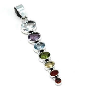 Chakrahänge i silver med sju sorters fasettslipade ädelstenar 7ca01a116953e