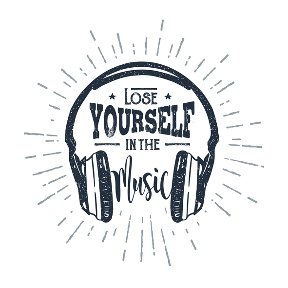 "Hand drawn 90s themed badge with headphones vector illustration and ""Lose yourself in the music"" inspirational lettering."